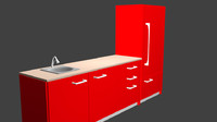 3d kitchen cabinet sink model