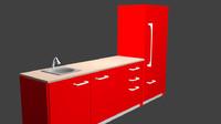 3d kitchen cabinet sink model