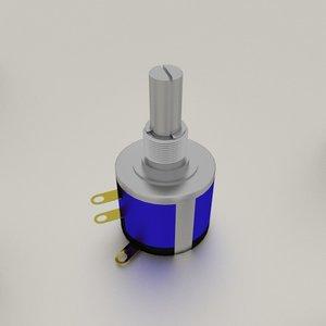 3d model potentiometer pot