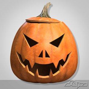 3d halloween pumpkin head evil