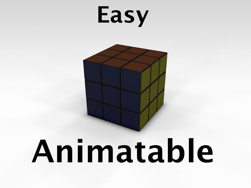 3d rubik cube animatable