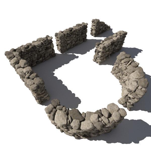 3ds stone wall - rocks