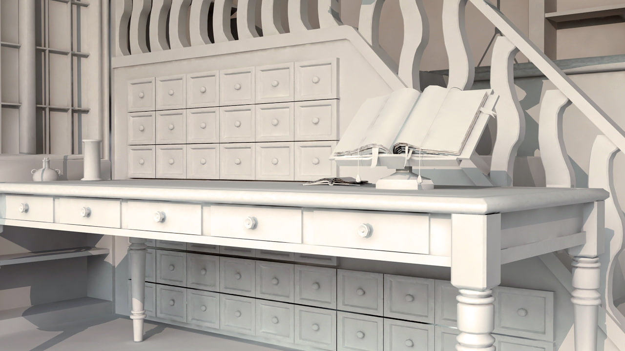 olde apothecary cabinets 3d model