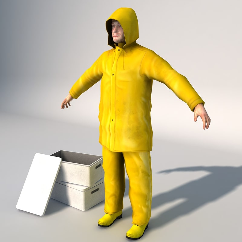 fisherman worker 3d model
