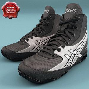 3d model wrestling shoe asics cael