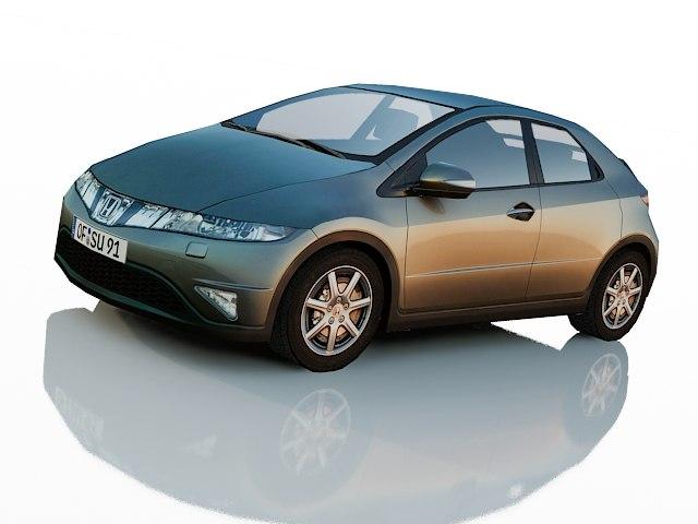 3d model of honda civic hatchback