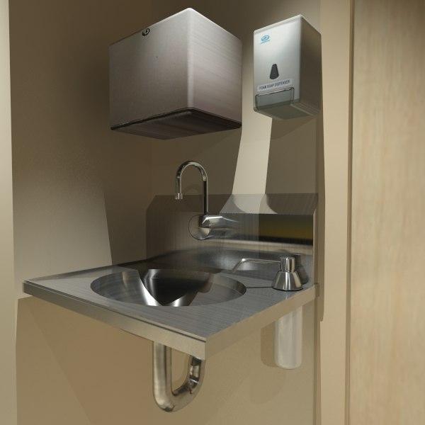 3d model commercial sink