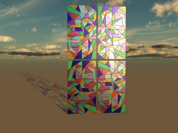 glass coloured 3d model
