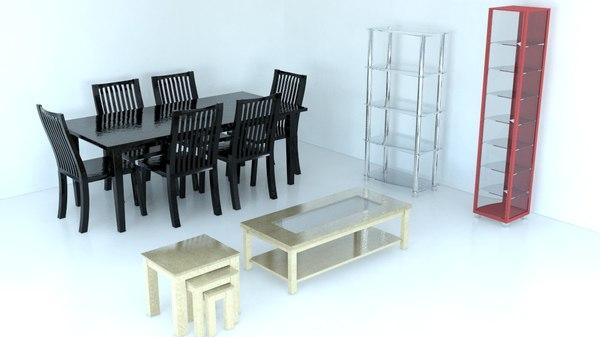 3d model living dining room furniture