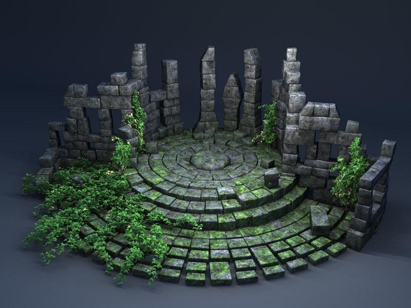stone sanctuary fantasy 3d c4d