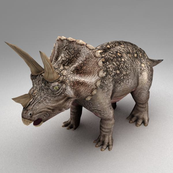 rigged triceratops biped animation 3d obj