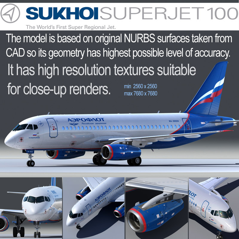 sukhoi 100 3d model