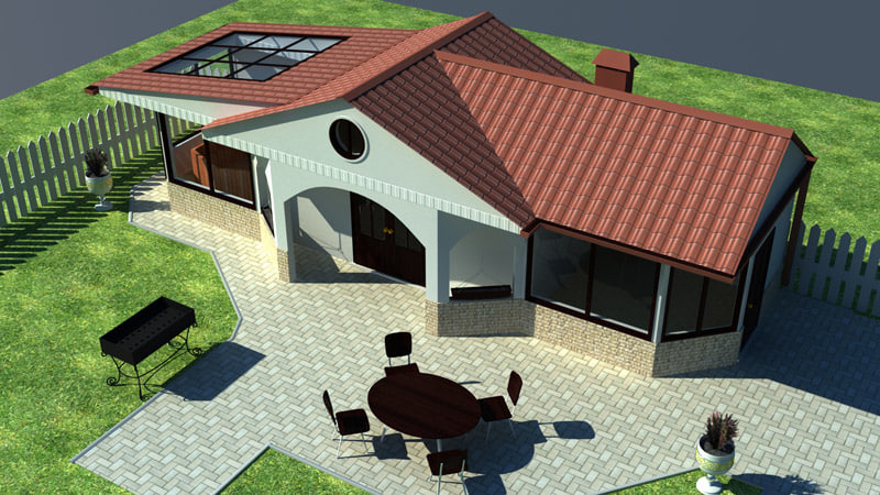 3d backyard house
