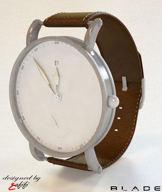 3d blade watch model