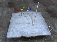 pin-cushion needles pins 3d c4d