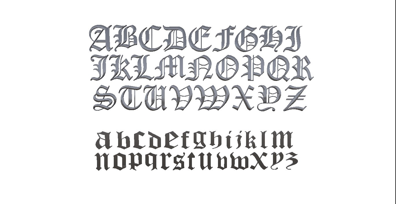 3d model alphabet old englisch font