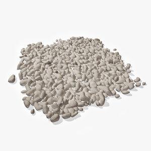 3d model of white pebbles