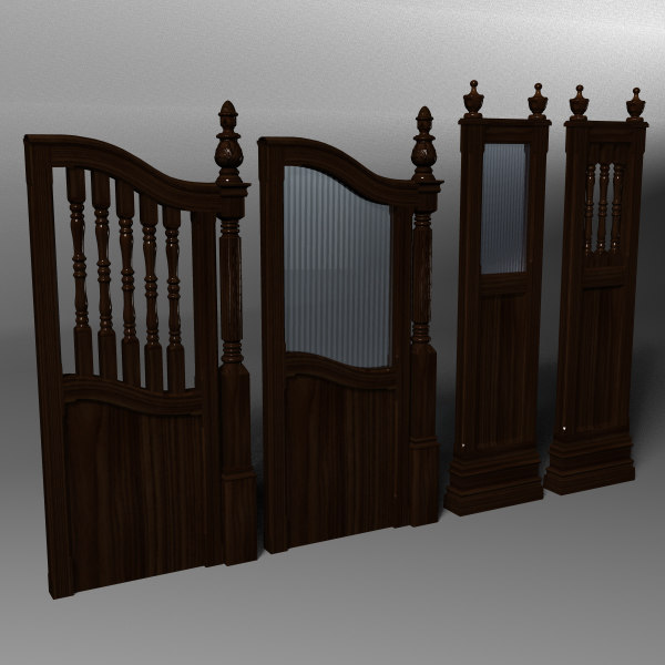 3d model traditional bar booth dividers