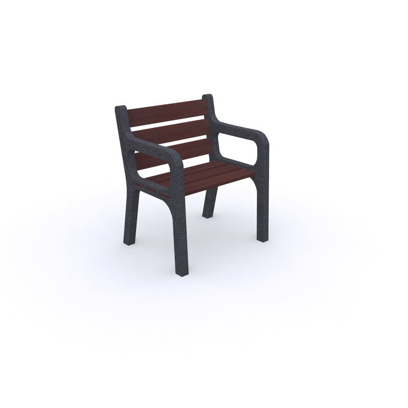 free street bench 3d model