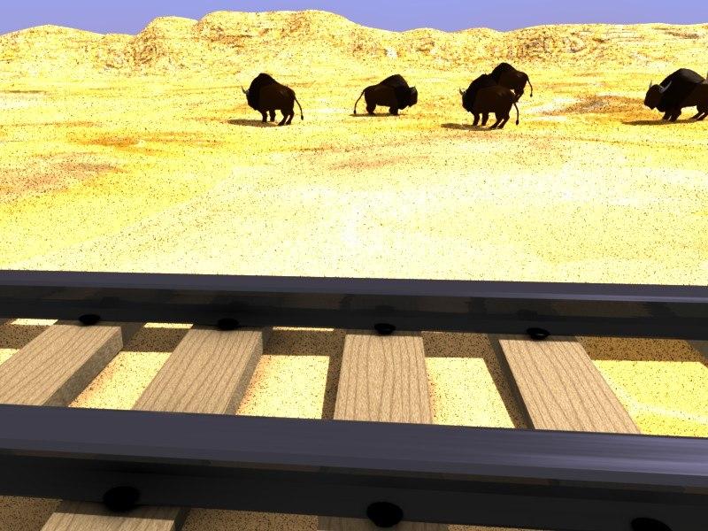 train rail desert 3d model
