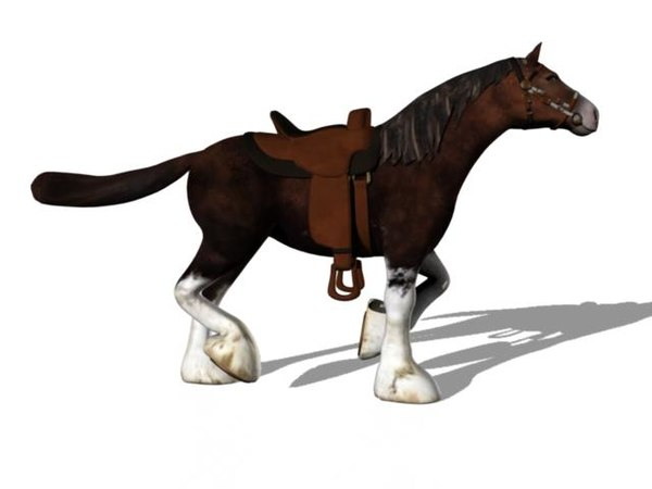 3d model draft horse rigged