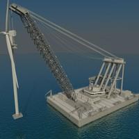 floating crane 3d model