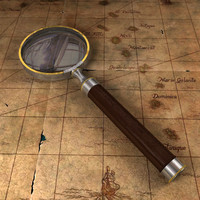 3d vintage magnifying glass model