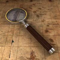 3d vintage magnifying glass model