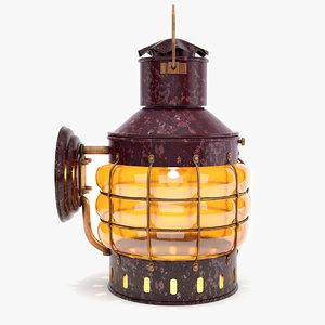 copper ship lantern lights 3d model