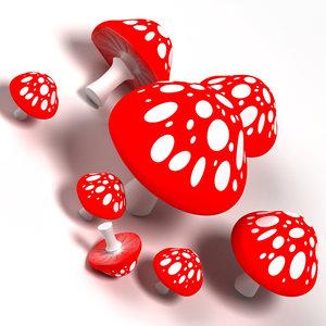 3d mushrooms model