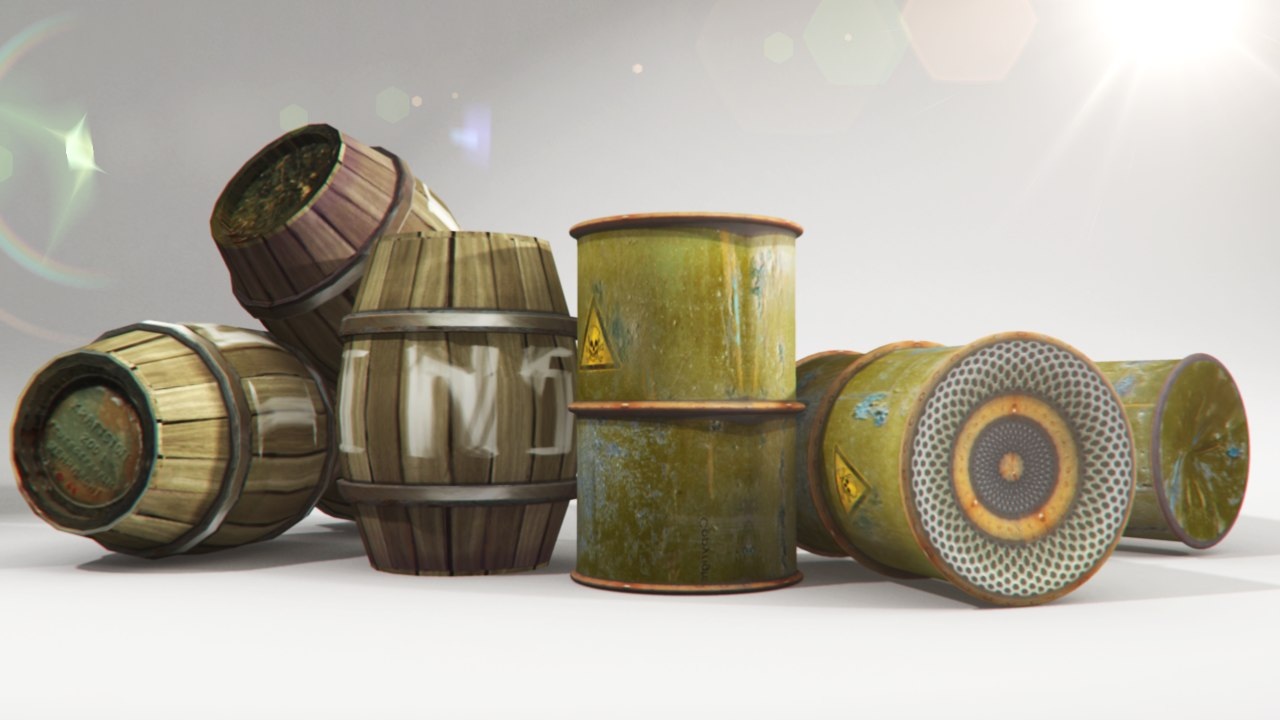 3d barrels metal wooden