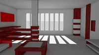 cinema4d interior red white
