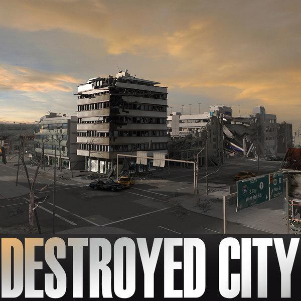 ruined city blocks destroyed building 3d c4d