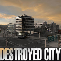 ruined city blocks destroyed building 3d c4d
