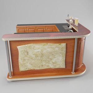 paneled mini bar 3d model