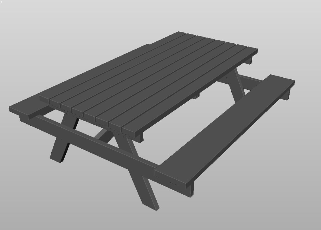 3d model wood picnic table