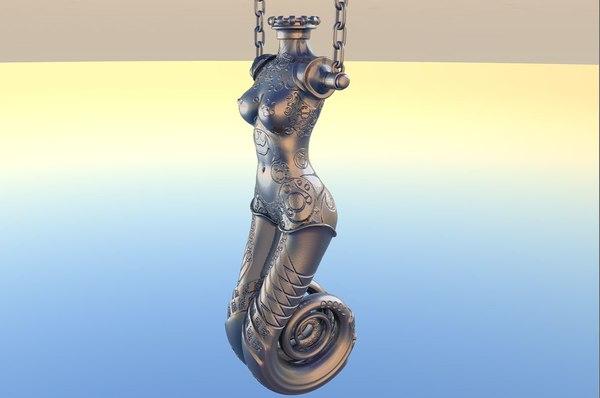 pyrocluster mermaid statue 3d obj