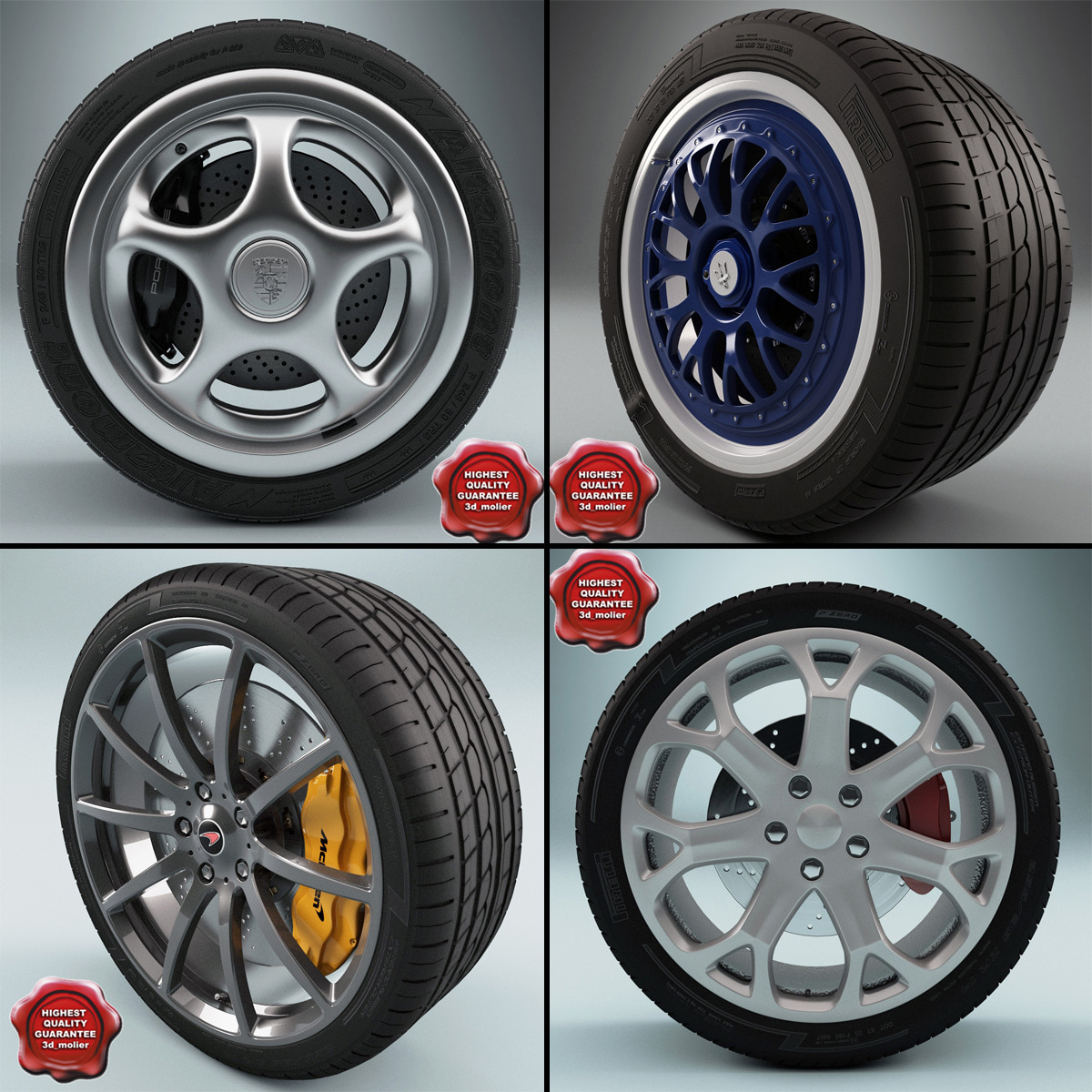 wheels set car 3d max
