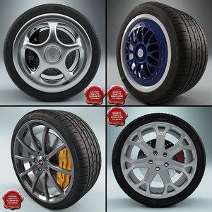 wheels set car 3d max