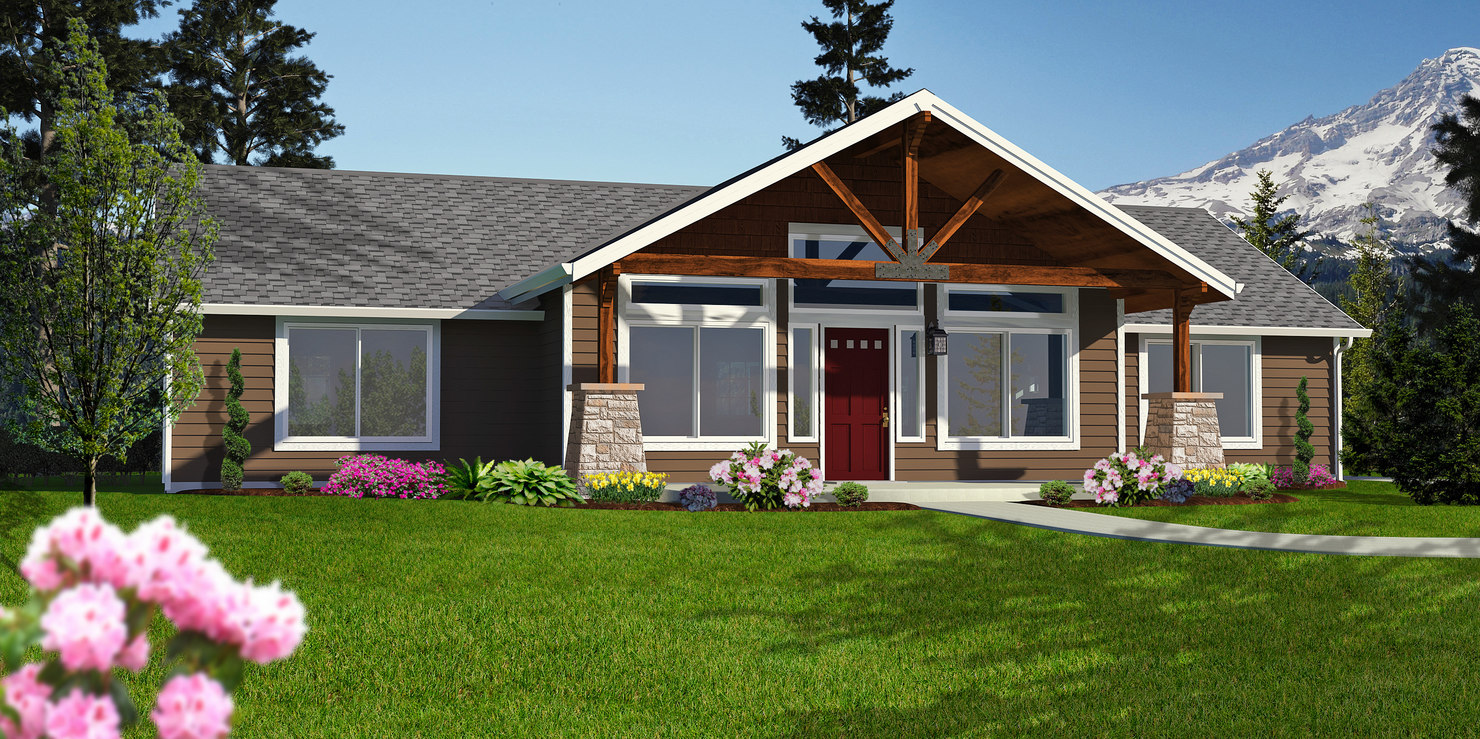 Cabin rambler home 3d model for Rambler homes