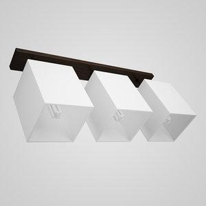 3d triple wooden ceiling lamp model