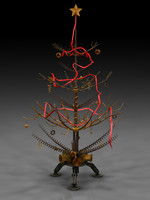 steampunk christmas postapo tree 3d model