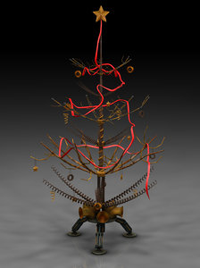steampunk christmas postapo tree 3d model