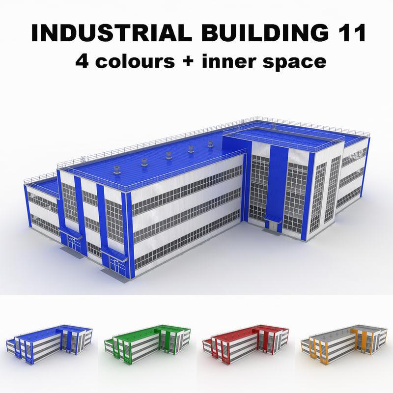 large industrial building 11 3d 3ds