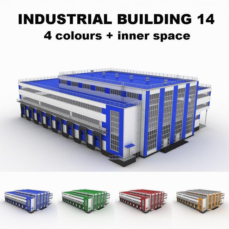 3d model large industrial building 14