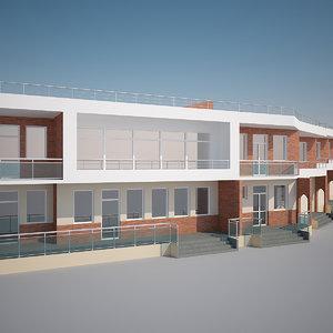 modern multi unit building 3d max