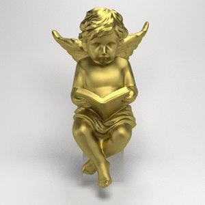 3d statue angel book model