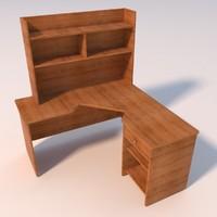 large corner wooden desk 3d 3ds