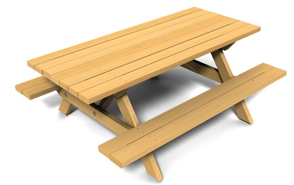 wooden picnic table 3d model
