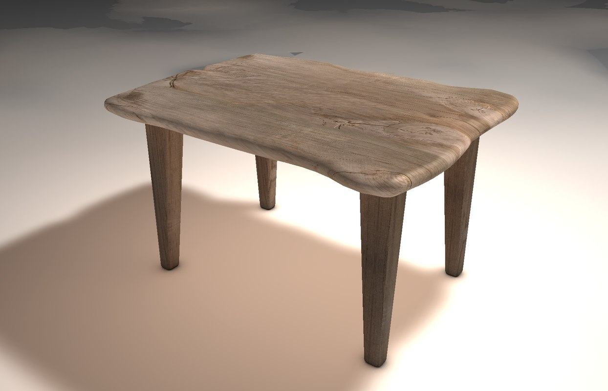 3d model of organic wood table